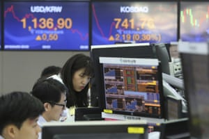 The foreign exchange dealing room of the KEB Hana Bank headquarters in Seoul, South Korea, today.