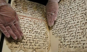 A fragment of a Qur'an manuscript is seen in the library at the University of Birmingham