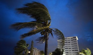 Strong winds in Freeport, Grand Bahama, as Hurricane Dorian arrives.