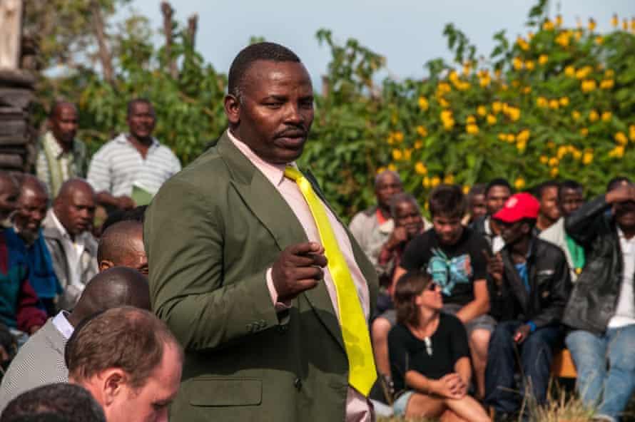 Sikhosiphi Rhadebe addressing crowds.