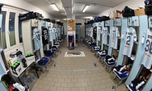A view of the dressing room of Virtus Entella before the Serie B match against Spezia at Stadio Comunale last season.