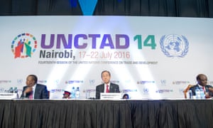 UN secretary general Ban Ki-moon (centre) opens the Unctad conference in Nairobi