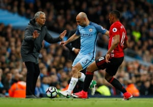 Pablo Zabaleta is tracked by Anthony Martial.