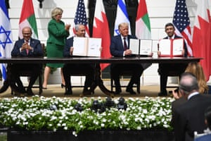Israeli Prime Minister Benjamin Netanyahu and the foreign ministers of Bahrain and the United Arab Emirates sign historic accords normalizing ties.