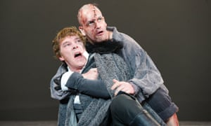 Benedict Cumberbatch as Victor Frankenstein and Jonny Lee Miller as the monster in the National Theatre's adaptation of Frankenstein.