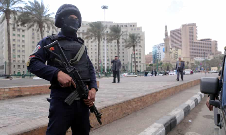 A member of the Egyptian security forces in Cairo's Tahrir Square on Sunday