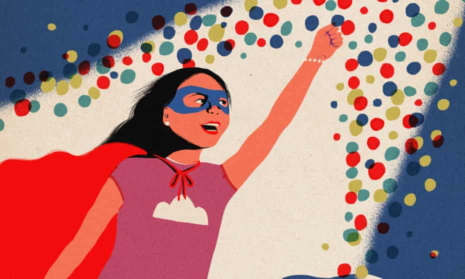 An illustration of a girl in Superman outfit and with her left arm and fist pointing upwards into a multitude of coloured dots