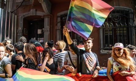 LGBT protesters in Istanbul, June 2016