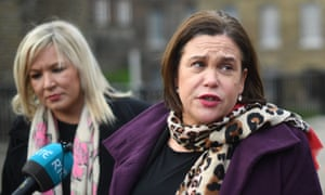 Mary Lou McDonald (right) and Michelle O'Neill, Sinn Fein's leader in Northern Ireland, at Westminster today.
