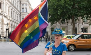 Protests in London a year on from the EU referendum.