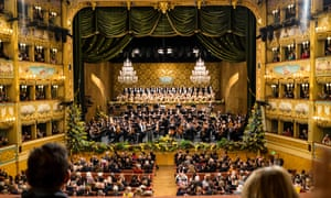 An orchestral concert at the Fenice Opera House in Venice.