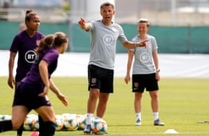 Phil Neville at a training session at the Pierre de Coubertin stadium in Cannes on Tuesday ahead of England's match against Japan