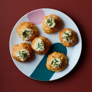 Thomasina Miers' gruyère, red onion and blue cheese gougères.