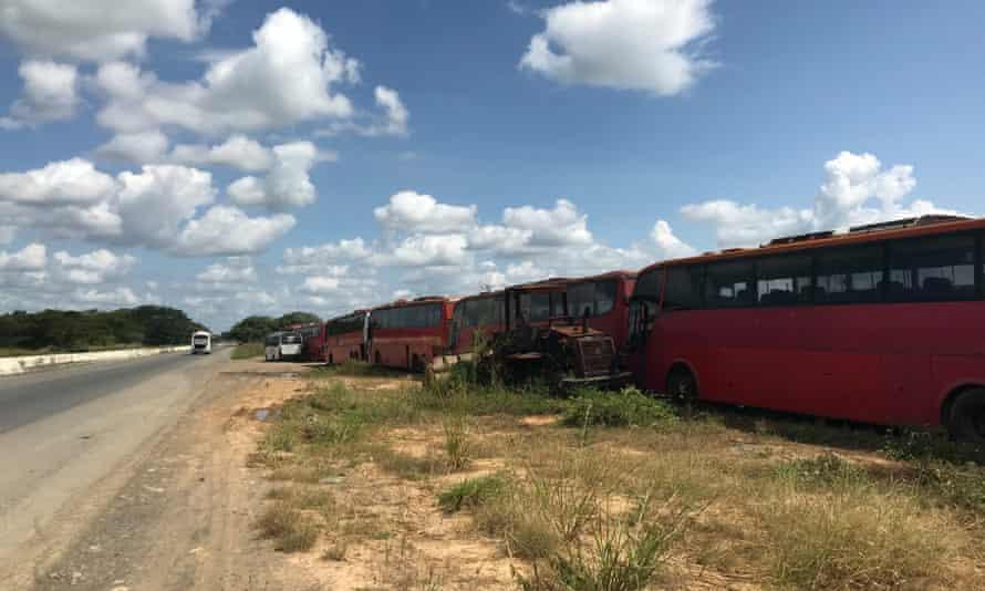 A roadside graveyard of abandoned buses in Venezuela's Portuguesa state