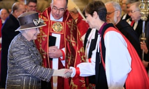 Queen Elizabeth II meets the Bishop of Stockport, the Right Reverend Libby Lane and the Dean of Westminster, Reverend John Hall