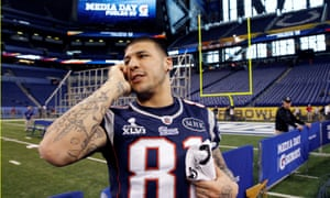 Aaron Hernandez in 2012. The former New England Patriots tight end killed himself in prison on Wednesday.