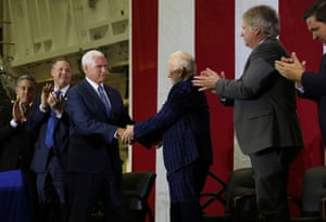 Vice President Mike Pence and astronaut Buzz Aldrin shake hands during a ceremony to commemorate the 50th anniversary of the Apollo 11 moon landing.