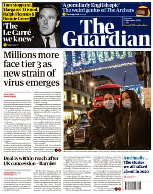 The Guardian front page 15 December 2020.