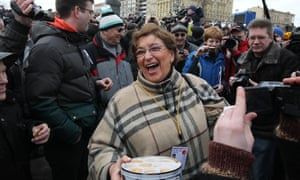 Yevgenia Albats at an anti-Putin protest in Moscow in 2012