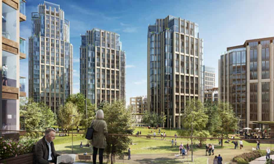 A visualisation of the Berkeley Homes development at the Fulham gas works.