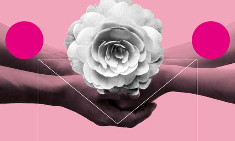 holding hands and camellia flower