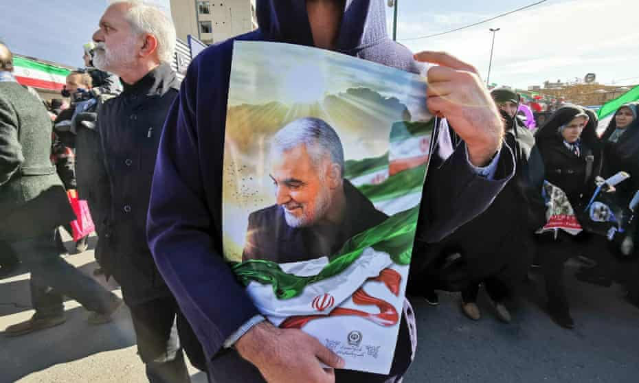 A portrait of Suleimani carried at rally marking the 40th day of mourning in Tehran.