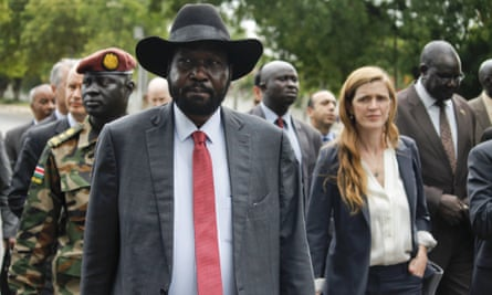 South Sudan's president, Salva Kiir, with members of the UN security council in Juba