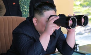 North Korea's leader Kim Jong-un supervises a military drill in North Korea on 10 May.