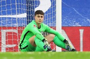 Chelsea's Kepa Arrizabalaga looks dejected after Jordan Clark scored Luton Town's first goal.