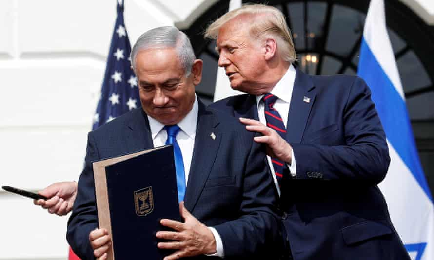 Donald Trump with Benjamin Netanyahu at the White House in 2021