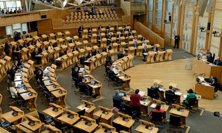 The chamber of the Scottish parliament