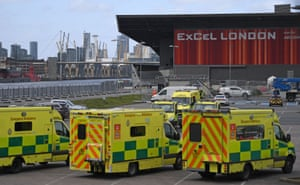 London ambulances in the car park at the ExCeL London exhibition centre on Sunday.