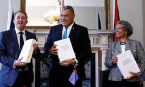 The international trade secretary, Liam Fox, with Jitoko Tikolevu and Winnie Kiap, the high commissioners to the UK for Fiji and Papua New Guinea