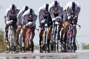 Heat shimmers off the road as Team Sky ride during the third stage, a team time trial over 35.5km around Cholet.