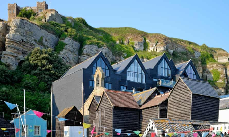 Modern apartments and historic net sheds in the East Cliff area of Hastings