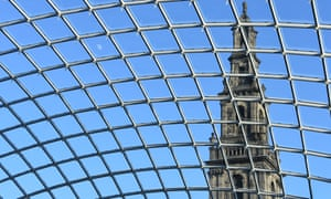 The spire of Holy Trinity church, seen through the glass roof of the Trinity shopping centre, Leeds