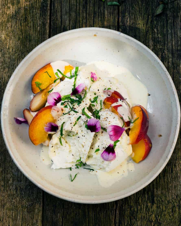 Serene and cooling; mozzarella, peaches, basil dressing.