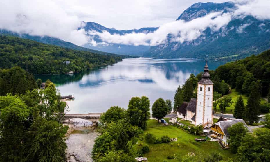 Saint John the Baptist's church, near the village of Ribčev Laz, on the shores of Lake Bohinj, Slovenia.