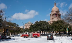 Congress Avenue after 5in of snow fell in Austin, Texas.