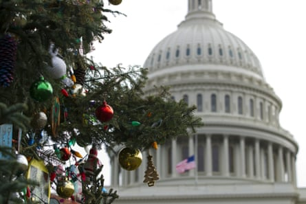 The Capitol Christmas tree decorations before the holidays.