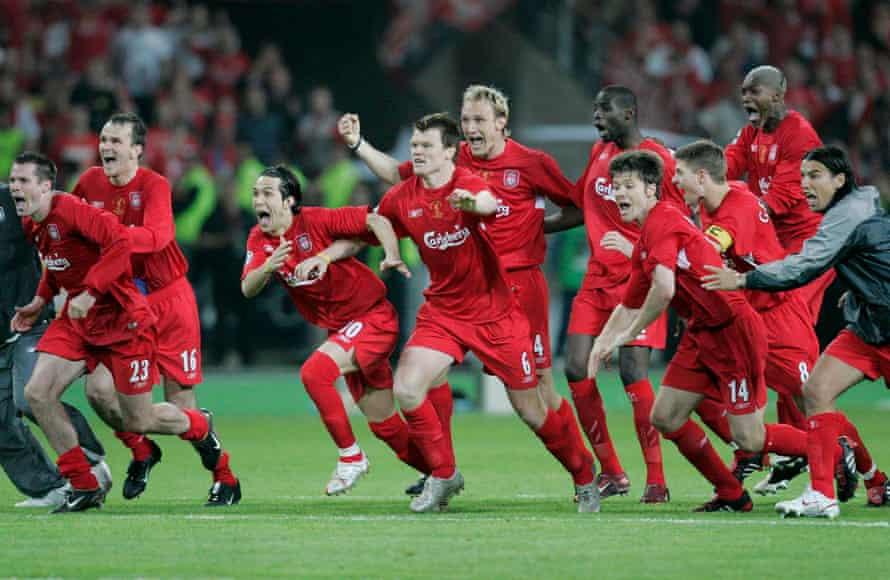 The Liverpool players celebrate Dudek's match-winning penalty save.