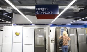 row of fridges and freezers for sale