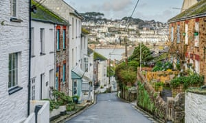 A view down Fore Street in Polruan looking towards Fowey.