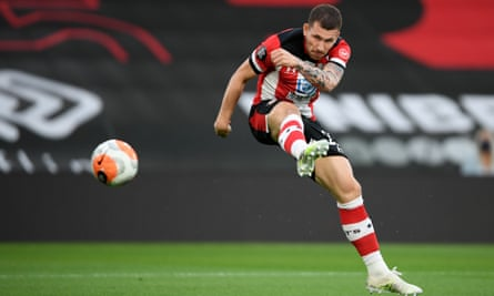Pierre-Emile Højbjerg in action for Southampton against Brighton on Thursday.