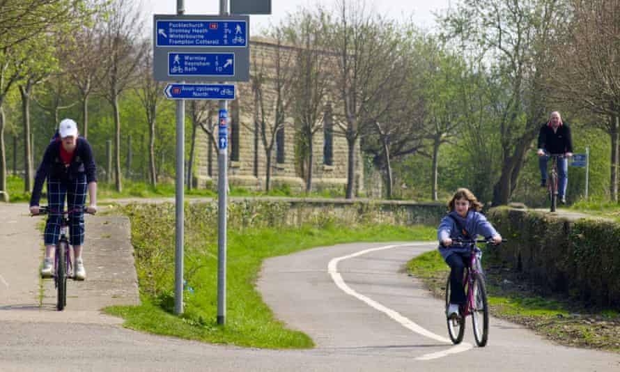Cyclists on a Sustrans cycle path near Bristol.