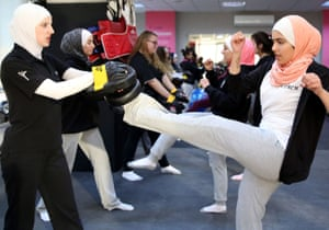 Women attend a self-defence class at the SheFighter studio, Jordan's first martial arts centre for women.