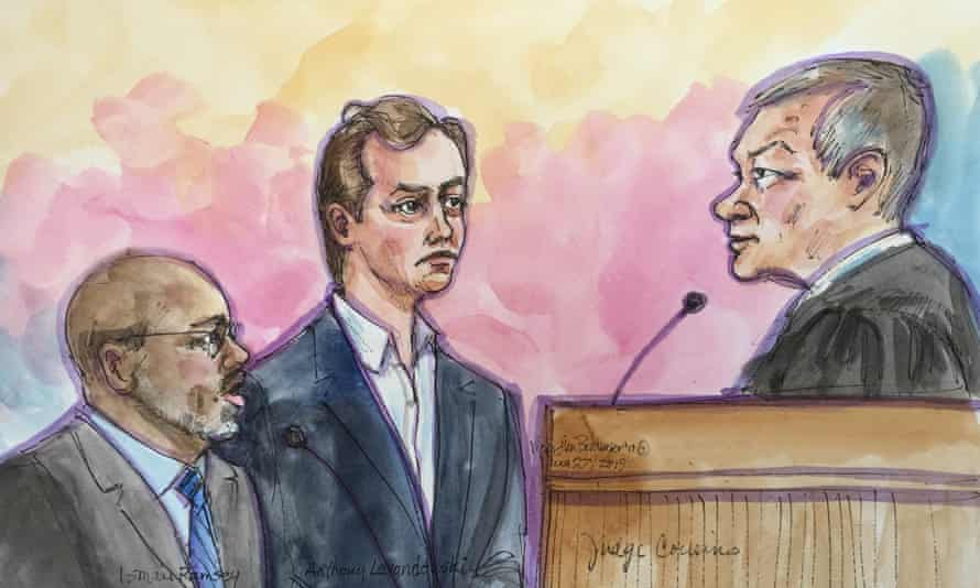 A court sketch of Anthony Levandowski and attorney Ismail Ramsey appearing before Judge Nathanael Cousins in San Jose.