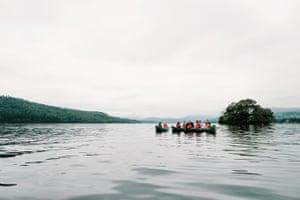 Kayaks float on Lake Windermere