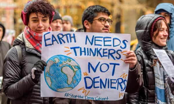 In January 2018, protests were held in 50 states urging US senators to support scientific evidence against Trump's climate change policies.