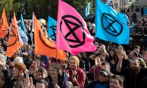Extinction Rebellion activists in Trafalgar Square in London